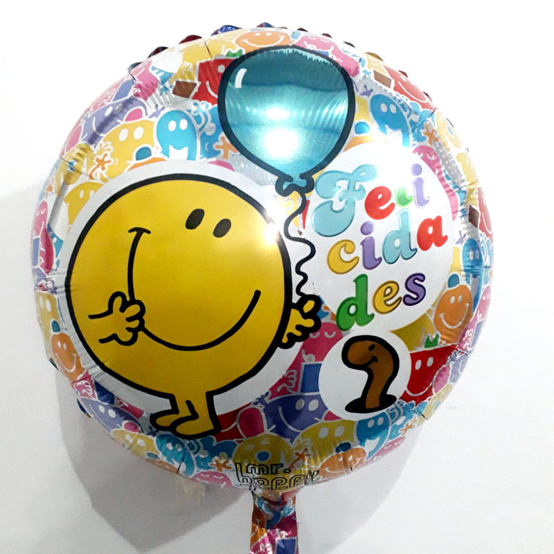 Globo Metalico Felicidades Emojis Animados de Cumpleaños, 18 Pulgadas en Forma Circular, Marca Kaleidoscope