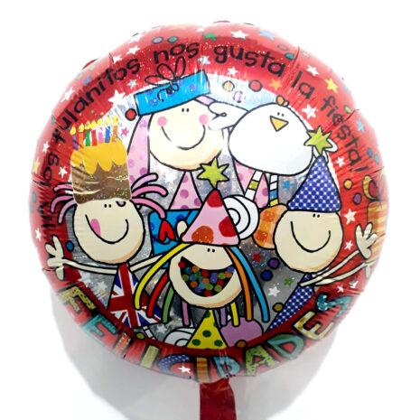 Globo Metalico A los Fulanitos Nos Gusta la Fiesta de Cumpleaños, 18 Pulgadas en Forma Circular, Marca Kaleidoscope