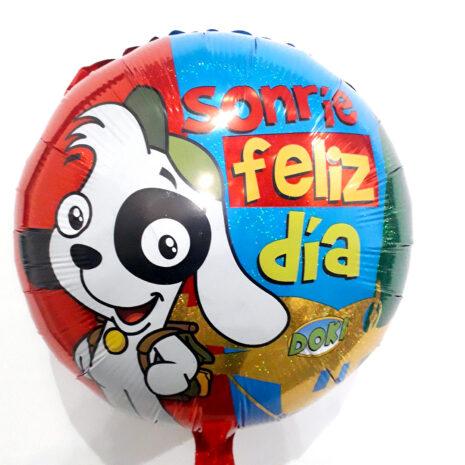 Globo Metalico Sonrie Feliz Dia Cachorro Doki Sonriendo de Cumpleaños, 18 Pulgadas en Forma Circular, Acabado Holografico, Marca Kaleidoscope