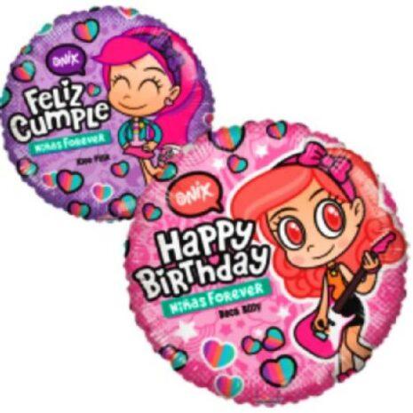 Globo Metalico Happy Birthday Niñas For Ever Magia Rosa de Cumpleaños, 18 Pulgadas en Forma Circular, Acabado Gellibeans, Marca Kaleidoscope