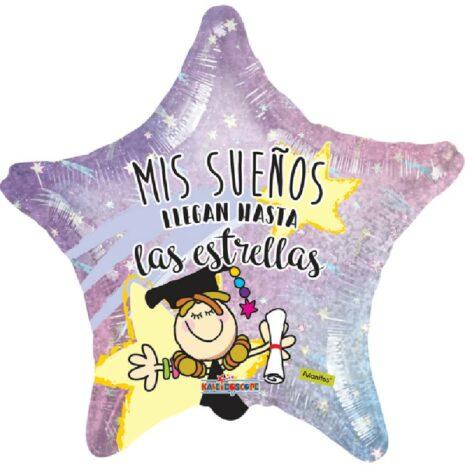 Globo Metalico Mis Sueños Llegan Hasta Las Estrellas Fulanitos de Graduacion, 22 Pulgadas en Forma de Estrella, Acabado Holografico, Marca Kaleidoscope