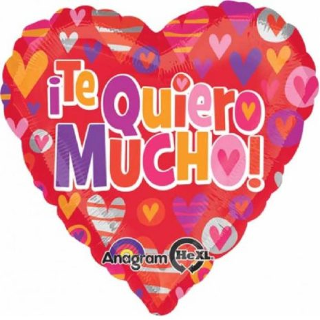 Globo Metalico Te Quiero Mucho Corazones Multicolor de San Valentin, 18 Pulgadas en Forma de Corazon, Marca Anagram