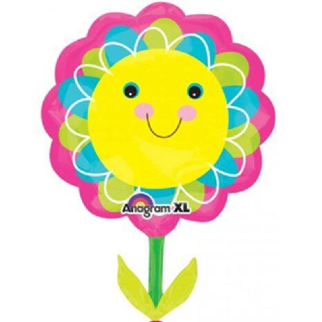 Globo Metalico Flor Primaveral Sonriente de Primavera & Verano, 36 Pulgadas en Forma de Flor, Marca Anagram