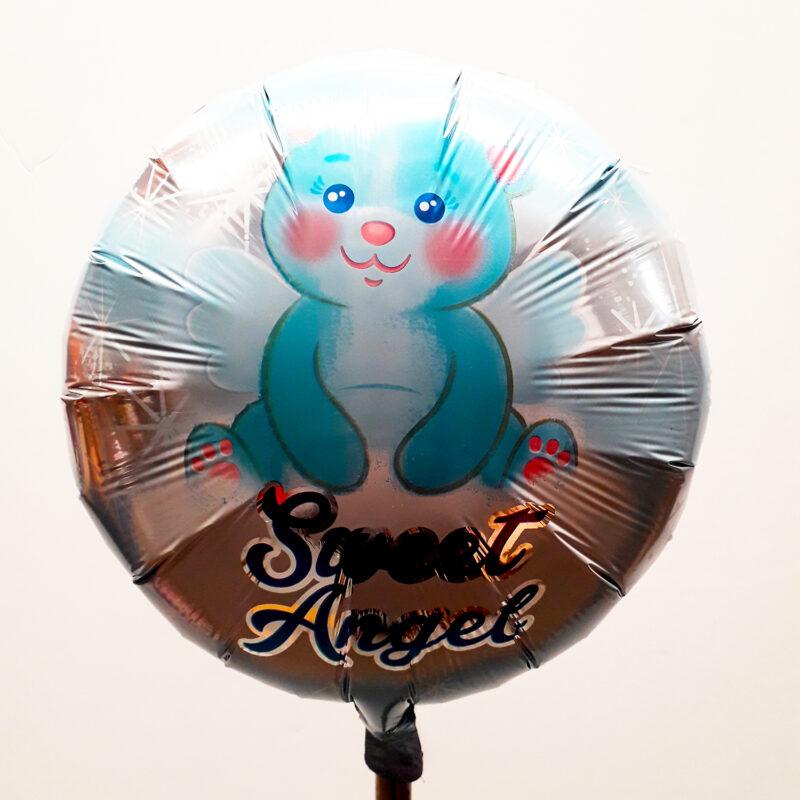 Globo Metalico Sweet Angel Osito Angelical de Baby Shower, 18 Pulgadas en Forma Circular, Marca Anagram