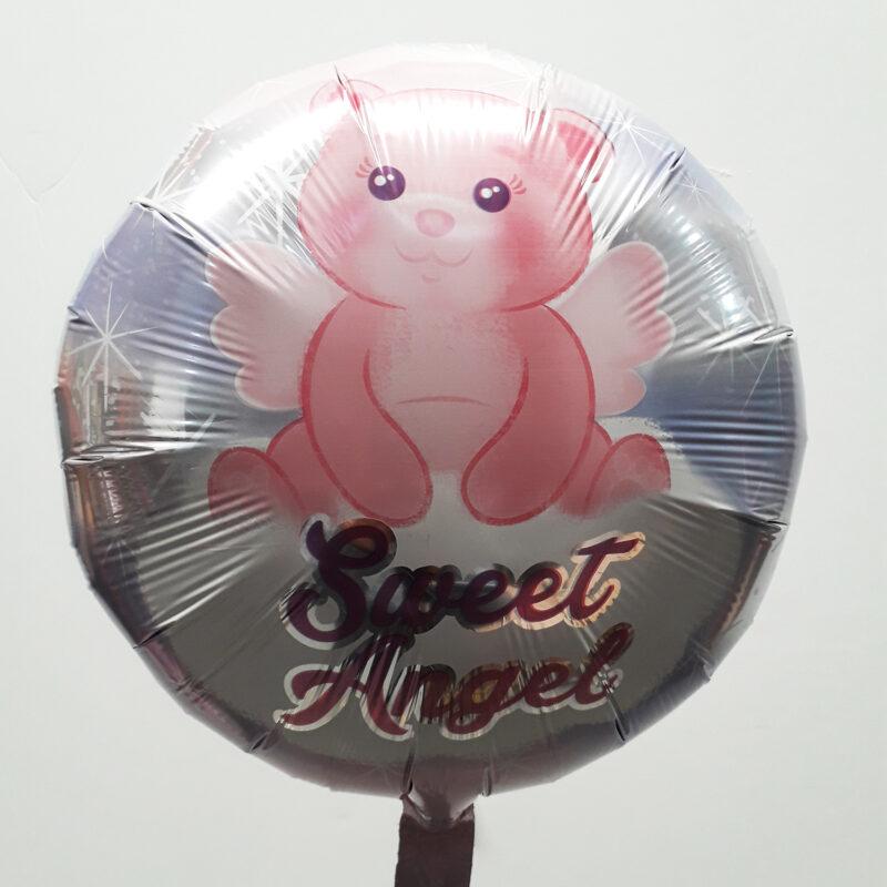 Globo Metalico Sweet Angel Osita Angelical de Baby Shower, 18 Pulgadas en Forma Circular, Marca Anagram