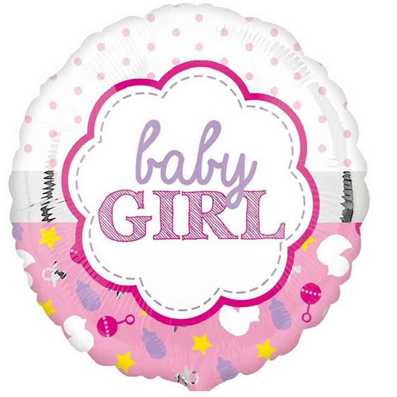 Globo Metalico Baby Girl Juguetes y Figuras de Baby Shower, 18 Pulgadas en Forma Circular, Marca Anagram