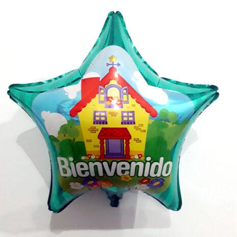 Globo Metalico Bienvenido Primavera en Casa de Bienvenido, 22 Pulgadas en Forma de Estrella, Marca Kaleidoscope