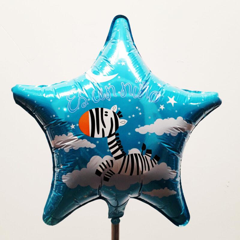Globo Metalico Es un Niño Zebra Entre Nubes de Baby Shower, 18 Pulgadas en Forma de Estrella, Marca Kaleidoscope