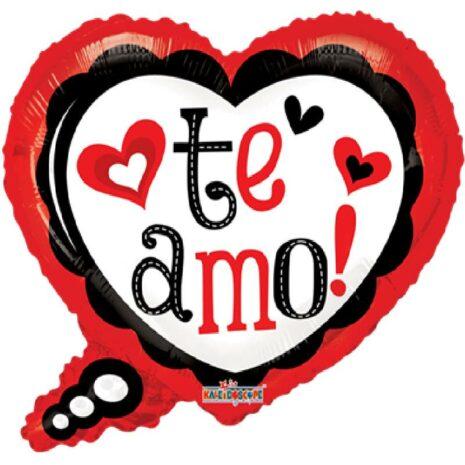 Globo Metalico Te Amo Dialogo de San Valentin, 20 Pulgadas en Forma de Corazon, Marca Kaleidoscope