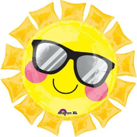 Globo Metalico Sol Radiante con Lentes de Primavera & Verano, 36 Pulgadas en Forma de Sol, Marca Anagram