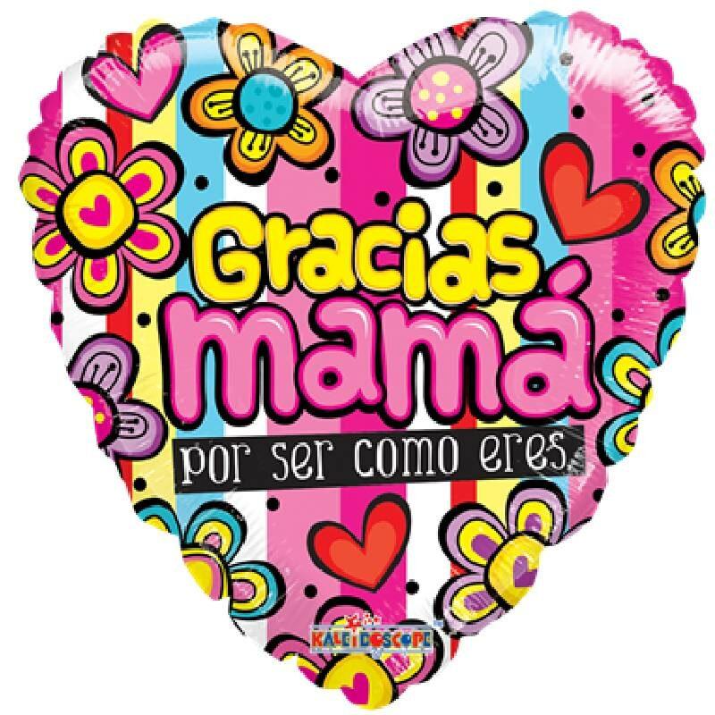 Globo Metalico Gracias Mama Por Ser Como Eres Magia Floral de Mama, 09 Pulgadas en Forma de Corazon, Marca Kaleidoscope