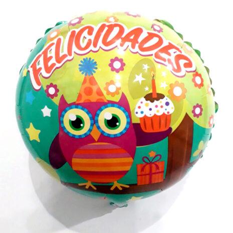 Globo Metalico Felicidades Buho Festajando de Cumpleaños, 18 Pulgadas en Forma Circular, Marca Gellibeans