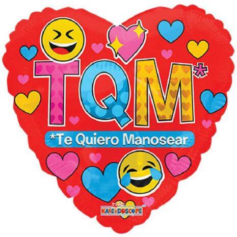 Globo Metalico Te Quiero Manosear Emojis y Corazones de San Valentin, 18 Pulgadas en Forma de Corazon, Marca Kaleidoscope