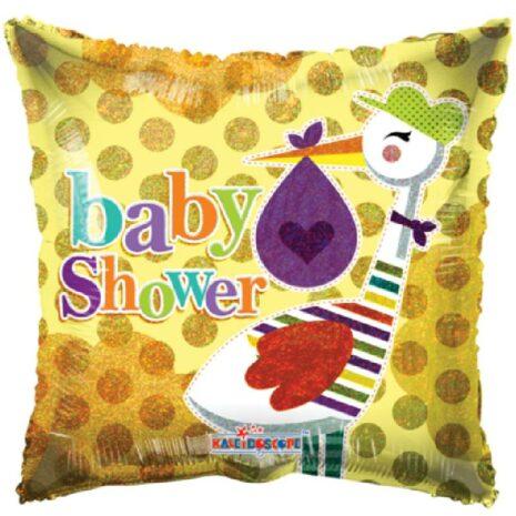 Globo Metalico Baby Shower Magia Silver Amarilla Cigueña de Baby Shower, 18 Pulgadas en Forma de Cuadrado, Acabado Holografico, Marca Kaleidoscope