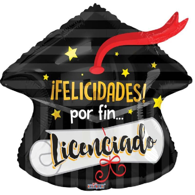 Globo Metalico Felicidades por Fin Licenciado Birrete de Graduacion, 18 Pulgadas en Forma de Birrete, Marca Kaleidoscope