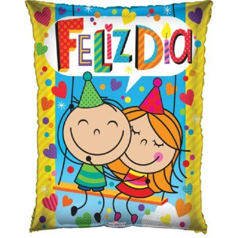 Globo Metalico Feliz Dia Magia de Abrazo Amigos de Cumpleaños, 20 Pulgadas en Forma Rectangular, Marca Kaleidoscope