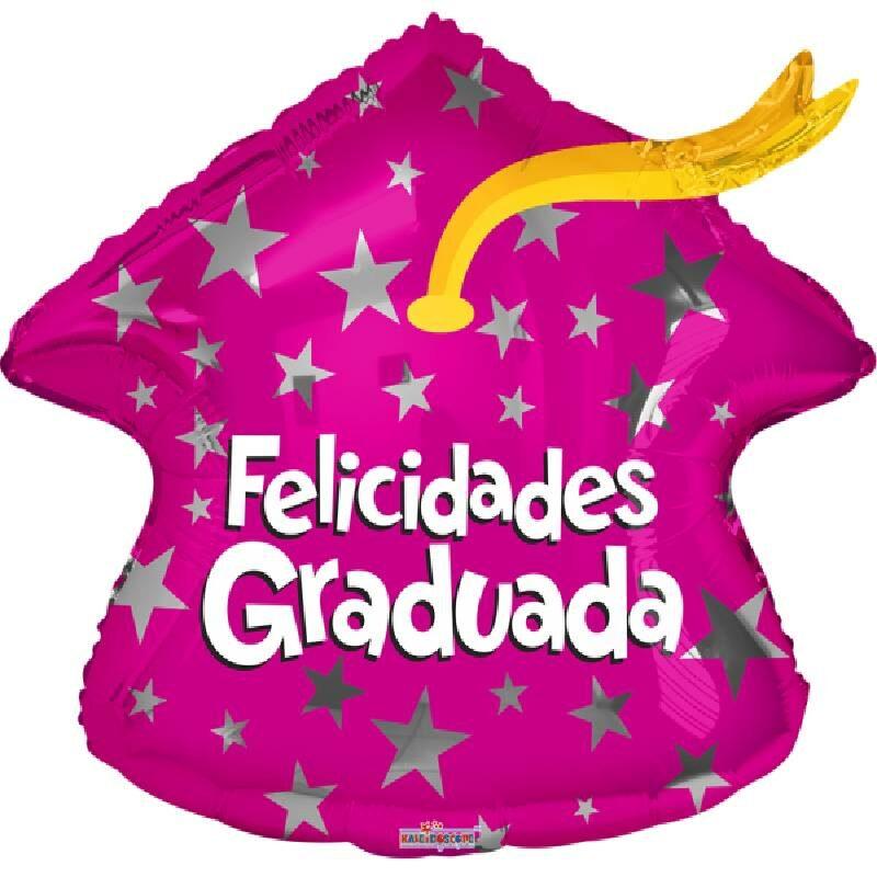 Globo Metalico Felicidades Graduada Magia Rosa de Estrellas de Graduacion, 18 Pulgadas en Forma Standar Sahape, Marca Kaleidoscope