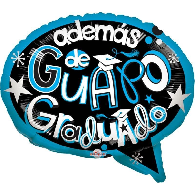 Globo Metalico Ademas de Guapo Graduado Dialogo de Graduacion, 18 Pulgadas en Forma Standar Shape, Marca Kaleidoscope