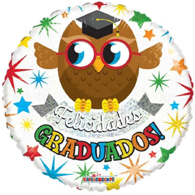 Globo Metalico Felicidades Graduados Buho de Graduacion, 18 Pulgadas en Forma Circular, Acabado Holografico, Marca Kaleidoscope
