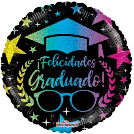 Globo Metalico Felicidades Graduado Lluvia de Estrellas de Graduacion, 18 Pulgadas en Forma Circular, Acabado Holografico, Marca Kaleidoscope