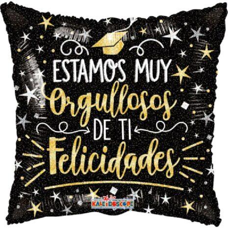 Globo Metalico Estamos Muy Orgullos de Ti Felicidades Lluvia Magica de Estrellas de Graduacion, 09 Pulgadas en Forma de Cuadrado, Marca Kaleidoscope