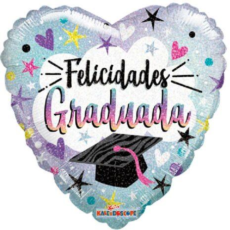 Globo Metalico Felicidades Graduada Magia Silver Plata de Graduacion, 09 Pulgadas en Forma de Corazon, Acabado Holografico, Marca Kaleidoscope