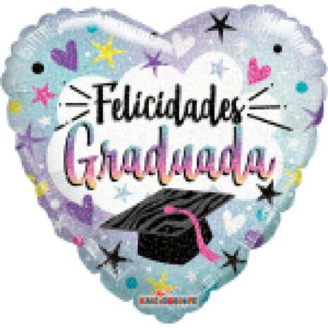 Globo Metalico Felicidades Graduada Magia Silver Plata de Graduacion, 18 Pulgadas en Forma de Corazon, Acabado Holografico, Marca Kaleidoscope