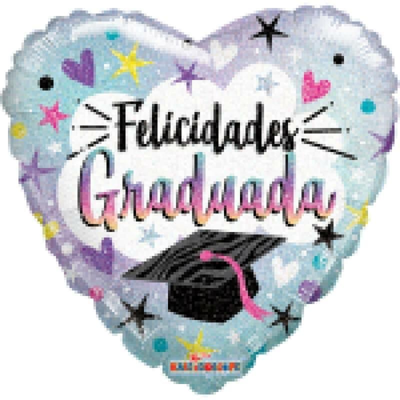 Globo Metalico Felicidades Graduada Magia Morada Birrete y Estrellas, 36 Pulgadas en Forma de Corazon, Marca Kaleidoscope