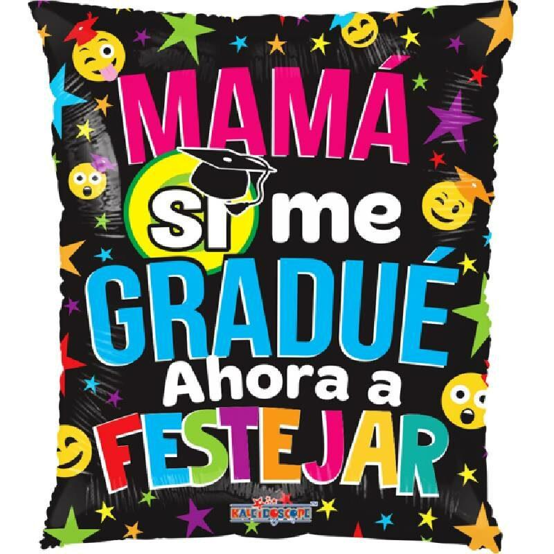 Globo Metalico Mama Si Me Gradue Emojis Traviesos de Graduacion, 20 Pulgadas en Forma de Rectangulo, Acabado Gellibeans, Marca Kaleidoscope