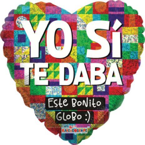Globo Metalico Yo Si Te Daba Este Bonito Globo Mosaico Multicolor de San Valentin, 18 Pulgadas en Forma de Corazon, Acabado Holografico, Marca Kaleidoscope