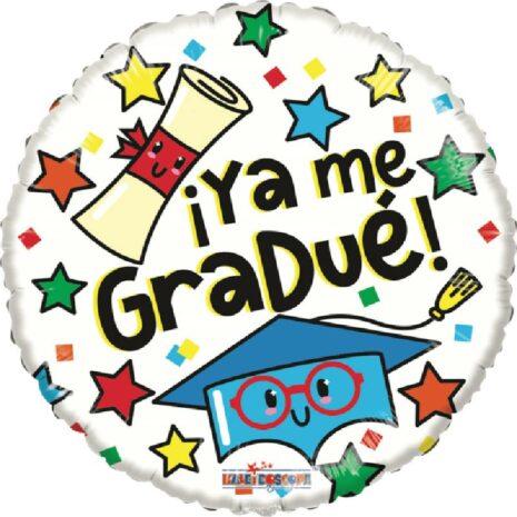Globo Metalico Ya Me Gradue Magia Birrete y Pergamino de Graduacion, 18 Pulgadas en Forma Circular, Acabado Gellibeans, Marca Kaleidoscope