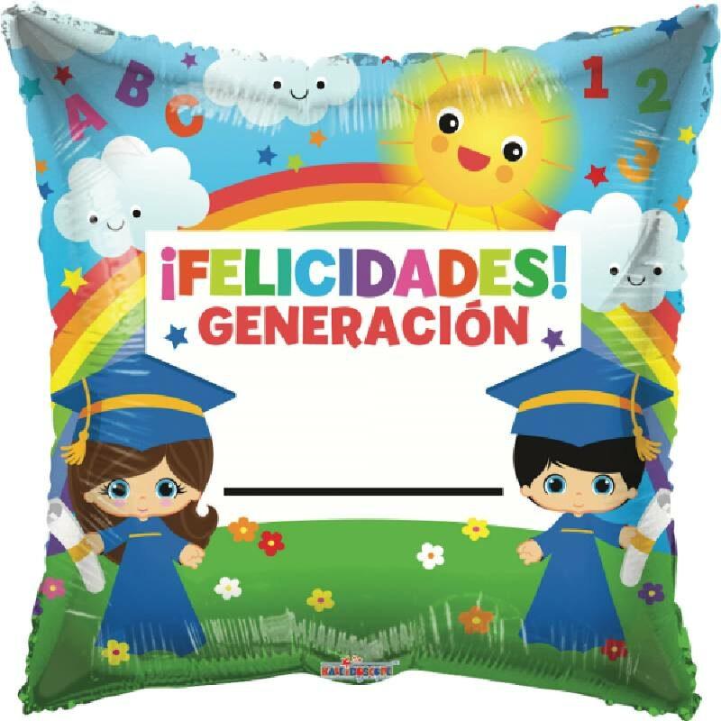 Globo Metalico Felicidades Generacion... Magia Infantil Primavera de Graduacion, 18 Pulgadas en Forma de Cuadrado, Acabado Gellibeans, Marca Kaleidoscope