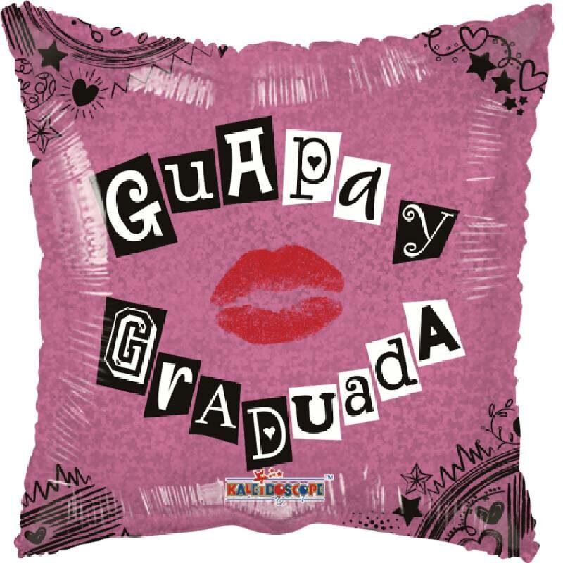 Globo Metalico Guapa y Graduada Magia Silver Rosa de Graduacion, 18 Pulgadas en Forma de Cuadrado, Acabado Holografico, Marca Kaleidoscope