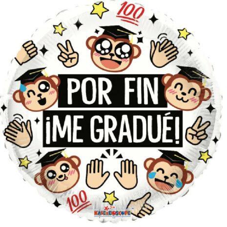 Globo Metalico Por Fin Me Gradue Changuitos Felices de Graduacion, 18 Pulgadas en Forma Circular, Acabado Gellibeans, Marca Kaleidoscope