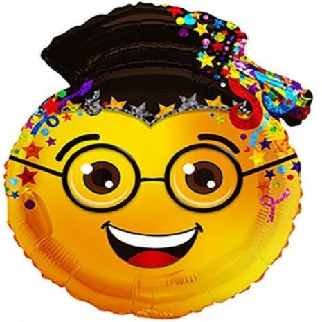 Globo Metalico Emoji Intelectual Happy Face de Graduacion, 24 Pulgadas en Forma de Silueta, Marca Kaleidoscope
