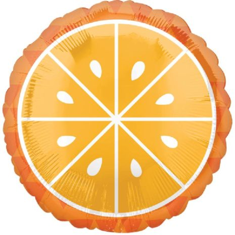 Globo Metalico Naranja de Primavera & Verano, 18 Pulgadas en Forma Circular, Marca Anagram