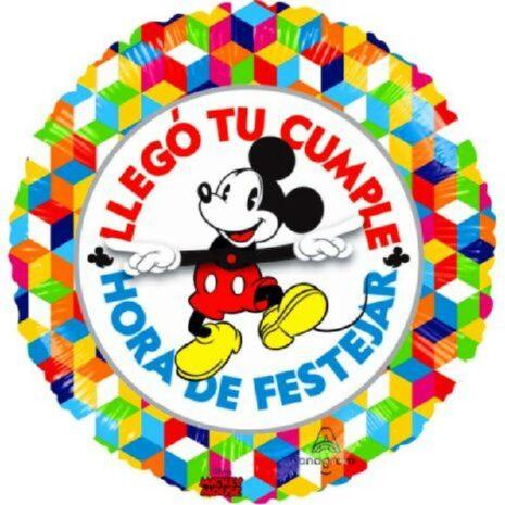 Globo Metalico Llego Tu Cumple Hora de Festejar Mickey Mouse de Cumpleaños, 18 Pulgadas en Forma Circular, Acabado Gellibeans, Marca Anagram