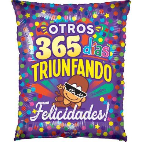 Globo Metalico Otros 365 Dias Triunfando Changolos Lluvia Trival de Colores de Cumpleaños, 20 Pulgadas en Forma Rectangular, Marca Anagram