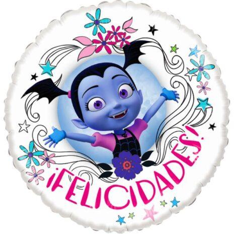 Globo Metalico Felicidades Vampirina Feliz y Contenta de Cumpleaños, 18 Pulgadas en Forma Circular, Acabado Gellibeans, Marca Anagram