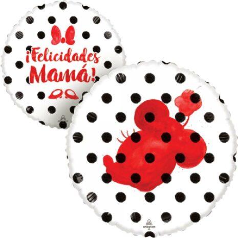 Globo Metalico Felicidades Mama Minnie Mause Punto Perdido de Mama, 18 Pulgadas en Forma Circular, Acabado Gellibeans, Marca Anagram