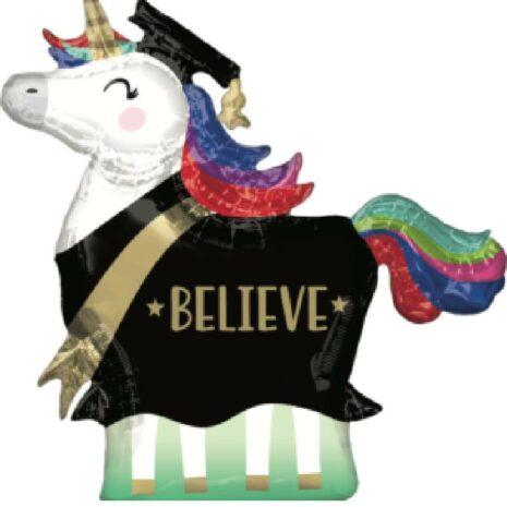 Globo Metalico BELIVE Unicornio Graduado de Graduacion, 36 Pulgadas en Forma de Unicornio, Marca Anagram