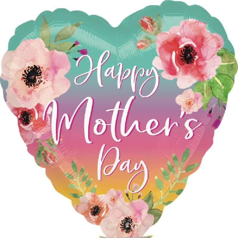 Globo Metalico Happy Mothers Day Rosas de Mama, 04 Pulgadas en Forma de Corazon, Marca Anagram