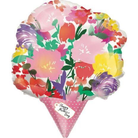 Globo Metalico Ramo de Flores Magia Primavera de Mama, 18 Pulgadas en Forma de Ramo, Marca Anagram
