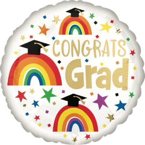 Globo Metalico Congrats Grad Magia Arcoiris de Graduacion, 18 Pulgadas en Forma Circular, Marca Anagram