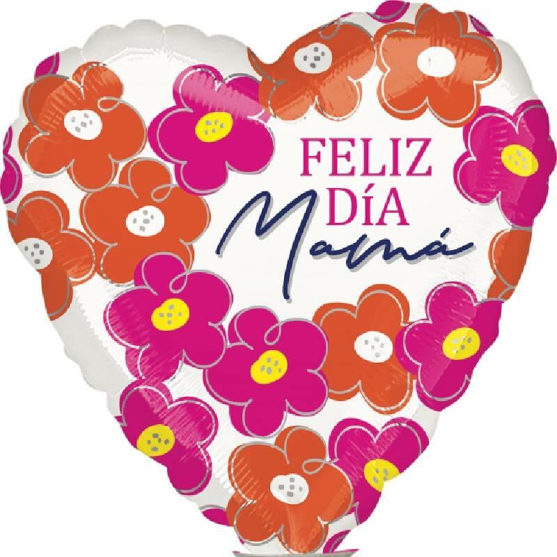 Globo Metalico Feliz Dia Mama Blanca Primavera de Mama, 04 Pulgadas en Forma de Corazon, Marca Anagram