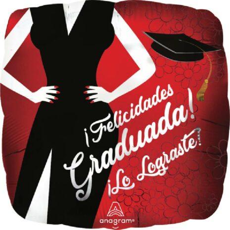 Globo Metalico Felicidades Graduada lo Lograste de Graduacion, 18 Pulgadas en Forma de Cuadrado, Acabado Satinado, Marca Anagram