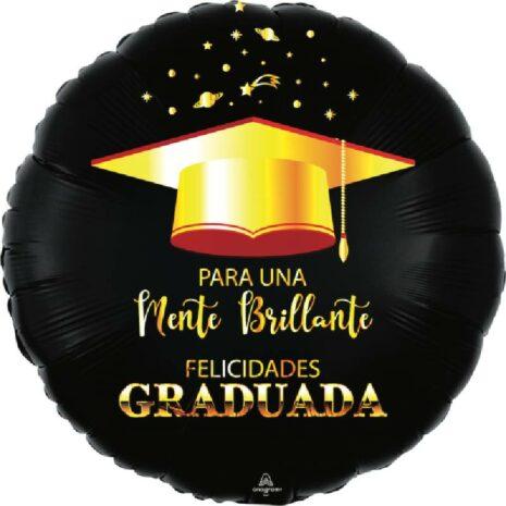 Globo Metalico Para Una Mente Brillante Felicidades Graduada Birrete de Graduacion, 18 Pulgadas en Forma Circular, Acabado Satinado, Marca Anagram