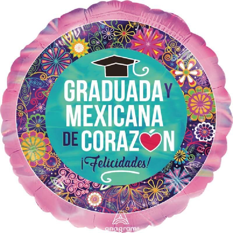 Globo Metalico Graduada y Mexicana de Corazon Magia Rosa de Graduacion, 18 Pulgadas en Forma Circular, Marca Anagram