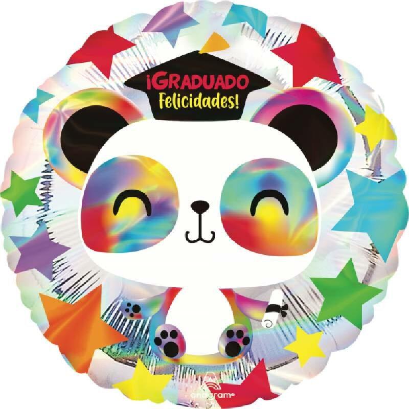 Globo Metalico Graduado Felicidades Panda Feliz de Graduacion, 18 Pulgadas en Forma Circular, Acabado Iridisente, Marca Anagram