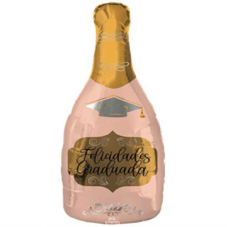 Globo Metalico Felicidades Graduada Botella Rosa de Champagne de Graduacion, 18 Pulgadas en Forma de Corazon, Marca Anagram